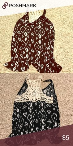 Aztec printed Crochet tank Black and white Aztec print. Super cute and comfy. Has elastic band at the bottom so it grips your waist! Target Tops Tank Tops