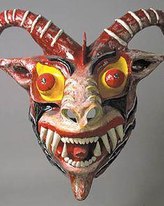 Caribbean Diablo mask Corpus Christi Day, Venezuela 24 inches, painted papier mache