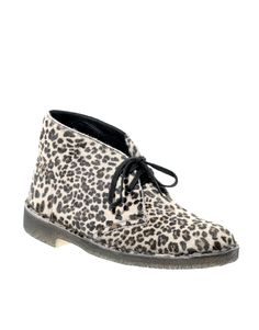 Beautiful Leopard Desert boots, Clarks Originals. Made in the UK. Comfy as well!