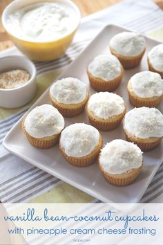 These vanilla bean-coconut cupcakes are delicious on their own, but we prefer them with a fluffy, totally freezeable pineapple cream cheese frosting. #cupcakes #baking