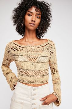 Crochet Top Patterns Slide View Free Love Crop Sweater - Luxe cotton crochet sweater featuring a statement open back with an adjustable tie closure with tassel ends. Crochet Bodycon Dresses, Black Crochet Dress, Crochet Blouse, Love Crochet, Knit Crochet, Crochet Sweaters, Crochet Tops, Cotton Crochet, Crochet Designs