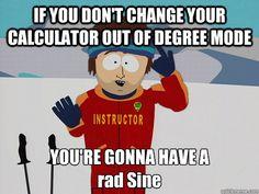 Calculator mode: degrees vs. radians