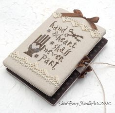 Hand and Heart Shall Never Part Cross Stitch Needle Book. Needle Keep Sewing…
