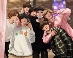 """half a decade drawing bangtan Fanart Bts, Jungkook Fanart, Bts Bangtan Boy, Bts Boys, Bts Taehyung, Bts Jimin, Anime Wolf, Anime Outfits, Jikook"