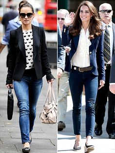 A tailored jacket is the Middleton women's favorite way to polish off frocks or dress up denim. While Pippa revels in a party-perfect tuxedo jacket and heart-print top, Kate reigns supreme in a regal navy Smythe blazer and ruffled blouse with J Brand jeans.