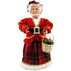 Cosette New Red Velvet Mrs. Claus Christmas Decoration Glasses Basket Hat Holly *** Tried it! Love it! Click the image. : Collectible Dolls for Home Decor