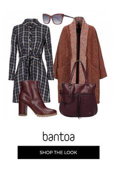 Tartan per tutti i giorni in un pratico e caldo abito chemisier da indossare sotto un bel paltò di lana Lana, Tommy Hilfiger, Skinny, Polyvore, Outfits, Fashion, Moda, Fashion Styles, Skinny Pig
