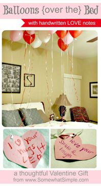 A bed covered in balloons with handwritten love notes attached- a simple #DIY gift for #valentines. www.SomewhatSimple.com #vday