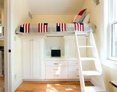loft beds with white painted built in cabinets and drawers quilt cream wall white painted deck wooden roof light toned wooden floor of widening your compact