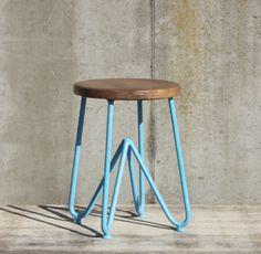 DESIGN Sitzhocker aus Metall & Holz Hocker Wohnzimmer Möbel   eBay