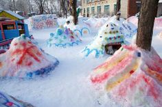Magical, colorful backyard sculpture garden in Winter. Winter Outdoor Activities, Snow Activities, Creative Activities, Nature Crafts, Fun Crafts, Crafts For Kids, Winter Love, Winter Kids, Snow Sculptures