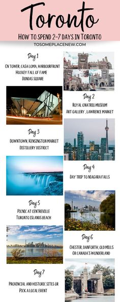 Ultimate travel guide to Toronto Itinerary 7 days. Check out how to spend 2 7 days in Toronto with city highlights, day trips and experiencing local life Visit Toronto, Toronto Travel, Trip To Toronto, Toronto Vacation, Travel Portland, Vacation Ideas, Pvt Canada, Canada Ontario, Canada Vancouver