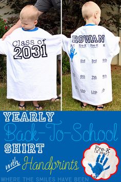 This is AWESOME!  Take a picture of your kiddo every year in this shirt with their graduation year on the front, AND get their handprint on the back!  Such a fun way to document their growth!  Yearly Back-to-School Shirt with Handprints for Every Grade! | Where The Smiles Have Been