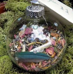 Faerie Magick Orb ~ filled with crystals, feathers, charms and flowers to attract the fae