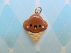 Fimo Kawaii Chocolate Ice Cream Charm Cute Polymer Clay Charm via Etsy