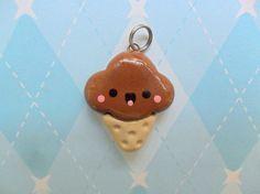Fimo Kawaii Chocolate Ice Cream Charm Cute Polymer Clay Charm via Etsy