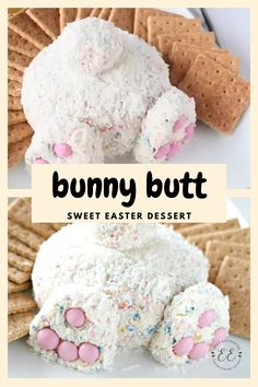 This Bunny Butt dessert is made with cream cheese and funfetti cake mix! This Bunny Butt dessert is made with cream cheese and funfetti cake mix! Cute Easter Desserts, Easter Deserts, Easter Snacks, Easter Appetizers, Easter Dinner Recipes, Kid Desserts, Easter Treats, Holiday Desserts, Easter Food