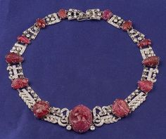 Platinum, Carved Ruby and Diamond Necklace, c. 1920