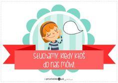 Nasze reguły - Słuchamy, kiedy ktoś do nas mówi - Printoteka.pl Diy And Crafts, Family Guy, School, Griffins