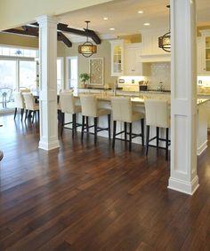 Beautiful Hardwood Floors In The Kitchen - House Living Hickory Wood Floors, Rustic Wood Floors, Floor Design, House Design, Hardwood Floor Colors, Dark Hardwood, Refinishing Hardwood Floors, Floor Refinishing, Floor Decor