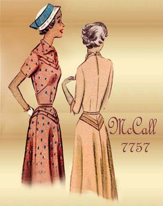 1940s Dress pattern McCall 7757 Vintage Sewing Pattern for a Classic One Piece Day Dress