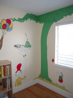 dr seuss mural (the Giving Tree and Curious George too) I hope my kids' room looks like this someday. Dr Seuss Mural, Dr Seuss Nursery, Storybook Nursery, Dr Seuss Birthday Party, The Giving Tree, School Murals, Baby Boy Rooms, Inspired Homes, Future Baby