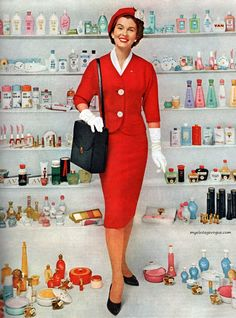 Oh vintage Avon ladies, I adore you so much I'm half tempted to give you (and your products) your own board. #1950s #1960s #Avon #woman #lady #cosmetics #makeup #ad #vintage
