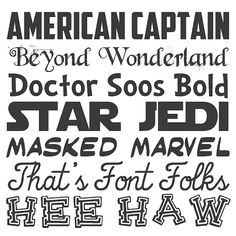 Love the Dr. Suess, Star Wars and Comic Book fonts, these would make great signs!