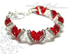 Items similar to Swarovski Bracelet; Sweet Red and White Crystal Cuff Bracelet by CandyBead on Etsy Bracelet Swarovski, Swarovski Jewelry, Crystal Bracelets, Crystal Jewelry, Beaded Jewelry, Swarovski Crystals, Jewelry Findings, Wire Jewelry, Gold Bracelets
