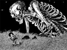 Silent Hills namedrops another creative talent, manga writer Junji Ito Junji Ito, Mythological Creatures, Mythical Creatures, Fantasy Creatures, Shinigami, Tim Burton, Folklore Japonais, Giant Skeleton, Scary