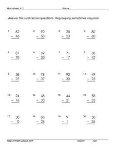Subtraction w/ regrouping worksheets