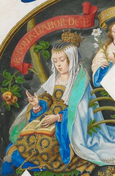 The Infanta Elionor of Aragón (1402-1445). She was a daughter of King Ferran I and his wife, Leonor The 3rd Countess of Alburquerque. She was The Princess of Portugal (1428-1433) and Queen of Portugal (1433-1438) as the wife of King Duarte I. Her surviving children were King Afonso V, The Infante Fernando The Duke of Viseu & Beja, and The Infantas Leonor, Catarina, and Joana.