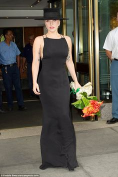 Dramatic: Lady Gaga impressed as she emerged from her NYC hotel on Wednesday on her way to an event honoring Tony Bennett at the Empire State Building