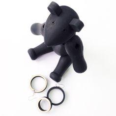 black wooden earrings & ring