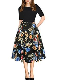 49eba16c1a oxiuly Women's Vintage Patchwork Pockets Puffy Swing Casual Party Dress  OX165 (XL, Black Floral)#New#Trendy