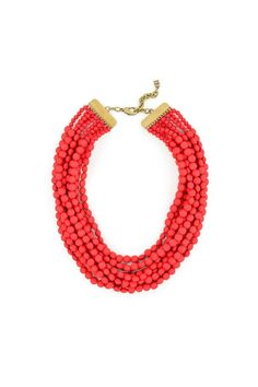 "This necklace make quite a statement with 10 layers of bright red beads. Measures 24"" with a 3"" extender to adjust length.   Red Bib Necklace by Gemma Collection. Accessories - Jewelry - Necklaces Dallas, Texas"