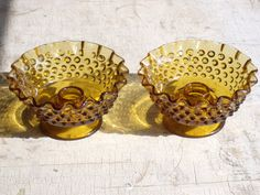 Vintage Pair Of Fenton Hobnail Colonial Amber Candle Bowls Made 1964 To 1980