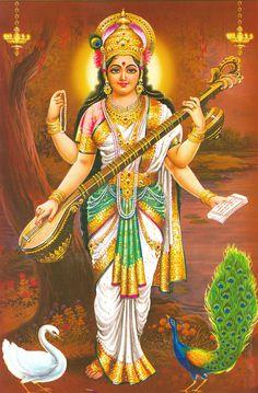 Goddess Saraswathi is the Hindu goddess of education, music, arts, knowledge and learning. Find a good collection of Goddess Saraswati images & wallpapers. Saraswati Photo, Saraswati Mata, Saraswati Goddess, Durga Maa, Goddess Art, Jai Hanuman, Shiva Shakti, Saraswati Vandana, Brahma