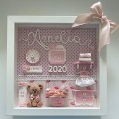 Diy Baby Gifts, Baby Crafts, Diy And Crafts, Crafts For Kids, Paper Crafts, Shadow Box Picture Frames, Box Frames, Birthday Gifts For Sister, Diy Birthday