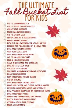 Free Printable Checklist - The Ultimate Fall Bucket List for Kids