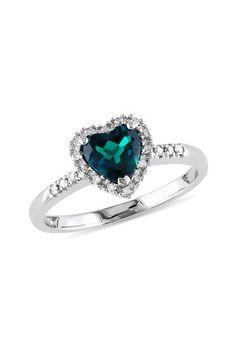 10K White Gold Created Emerald & Diamond Heart Ring