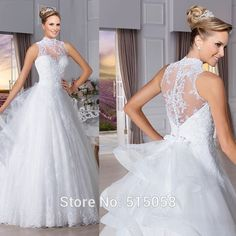 [Click image to buy!] vestido noiva praia  high neck nude back princess wedding dresses lace bridal gowns custom made trouwjurk -- Shop 4 Xmas n 2018. Just click the VISIT button to find out more on  AliExpress.com.