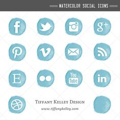 Teal Blue Turquoise Watercolor Social Media Icons - Social Networking Buttons - Digital File Instant Download for Website and Blog Design