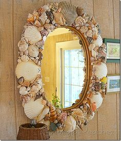 Beautiful Seashell Mirror:  epoxy, seashells and imagination!