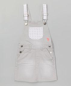 Look at this #zulilyfind! Silver Gray Eyelet Overalls - Infant, Toddler & Girls #zulilyfinds