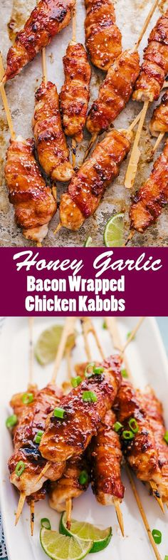 Honey Garlic Bacon Wrapped Chicken Kabobs are going to tantalize your tastebuds. Chicken tenders wrapped in bacon and covered in a honey lime sauce, perfect for dinner any night of the week. #HoneyGarlicBaconWrappedChickenKabobs #HoneyGarlicBacon #BaconWrappedChickenKabobs #ChickenKabobs #Kabobs #chickenskewers #cooking #recipes #dinner #thefoodcafe #paleo