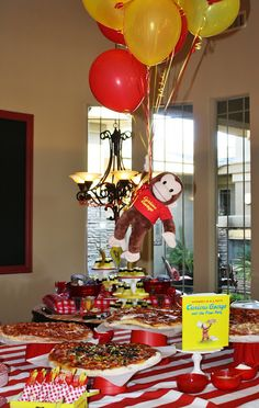 : Curious George birthday pizza buffet - love the George tied to the balloons Birthday Pizza, Monkey Birthday Parties, Baby First Birthday, Birthday Fun, Birthday Party Themes, Birthday Ideas, Birthday Cakes, Curious George Party, Curious George Birthday