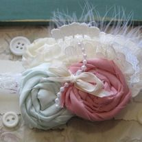 Vintage Mint and Pink headband  6.25