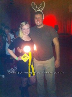 Deer in Headlights Couple Costume with Real Lights!... Coolest Homemade Costume Contest