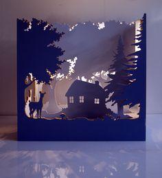 """""""Théâtre enchantée"""" lampe d'ambiance en bois, éclairage led, 40*40*21cm."""